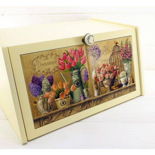 Хлібниця з натурального дерева і кераміки Tulips & Birdie
